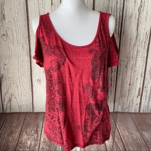 Maurices embellished cold shoulder Tee size Large